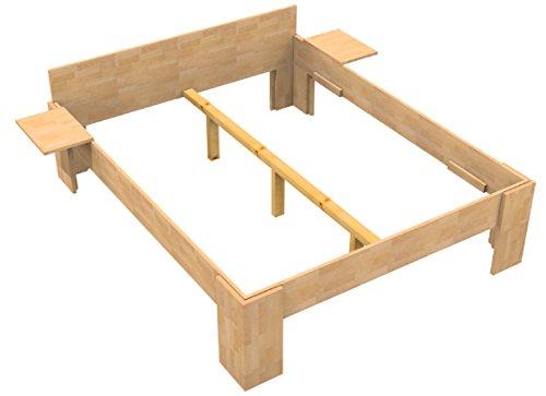 Baßner Holzbau 27mm Echtholzbett Massivholzbett Buche 180x200 Fuß I 49cm Rahmenhöhe