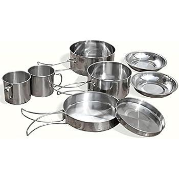8Pcs Stainless Steel Outdoor Picnic Pot Pan Cup Kit Camping Hiking Cookware UK