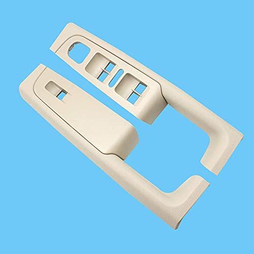 QifawU 2 piezas delantera interior manija reposabrazos marco interruptor panel de control Trim/Fit para Sko-da Superb 2008-2013 3TD867157A 3TD 867158A (Beige)