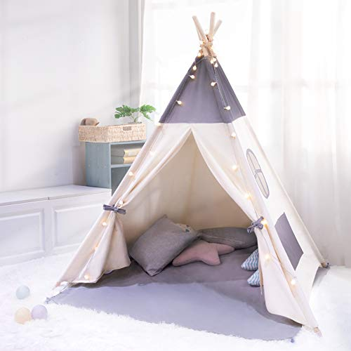 besrey Teepee Tent for Kids with String Lights, Foldable Baby Tipi Play Tent with Floor Mat, Portable Canvas Tipee Tent for Boy Girl Gift, Cotton Indoor Outdoor Child Tent with LED