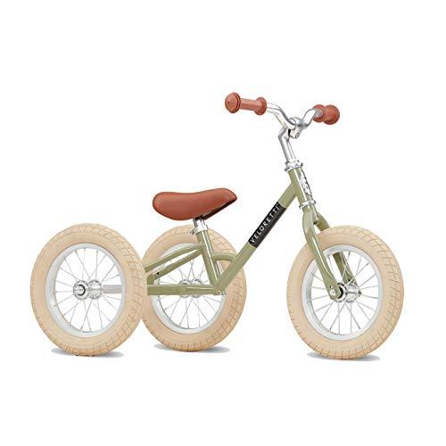 Veloretti Tricycle Set - 2-in-1 Kinderdreirad für Jungen und Mädchen inkl. Mitwachsendes Dreirad, Umbaubares Laufrad, Höhenverstellbarer Rahmen, Abnehmbare Stützräder – 12 Zoll Reifen (Desert Moss)