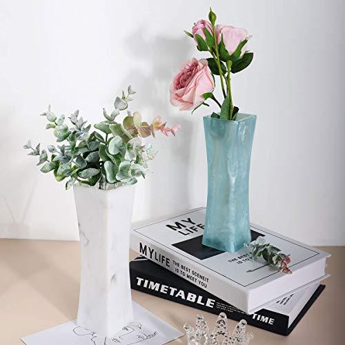 Lewondr Florero de Flor de Línea Curva de Resina, [2 PZS] 7.1 Inch Florero Jarrone Elegante Curvado, Decoración Clásicas para Fiestas de Bodas, Patio, Casa, Hogar - Ink Blanco + Azul Claro