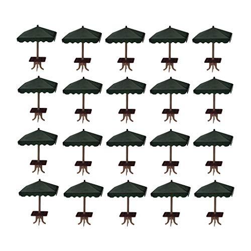 lahomia Juego de 20 Sombrillas de 4 Esquinas, Kit de Piezas de Escena de Construcción de Arena Micro, Accesorios para Fotos - 1: 75 Verde