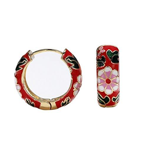 Yoohh Pendientes de aro retro con hebilla de oreja de microincrustaciones de color circón, gruesos y abiertos, para mujeres y niñas, regalo de moda, joyería de moda, rojo