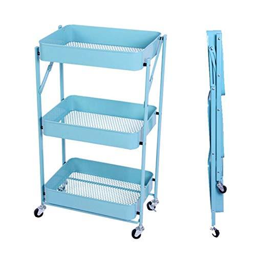 YCSD Carro De Cocina O Utilitario De Almacenamiento con Ruedas De Metal Plegable De 3 Niveles con Ruedas Sin Necesidad De Ensamblaje(Color:Azul Claro)