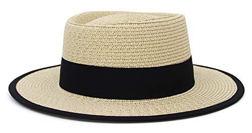 GEMVIE Unisex Sombrero de Paja Playa Mujer Hombre con Banda Grosgrain Protector Solar Sombreros de Panamá de ala Ancha Sombrero Fedora para Hombre Primavera/Verano (Color 5)