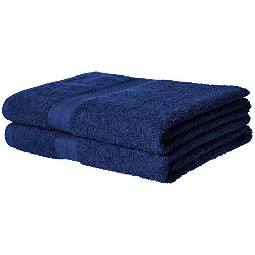 AmazonBasics FadeResistant Cotton Bath Towel  Pack of 2 Navy Blue