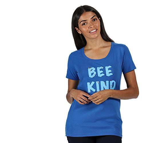 Regatta T-Shirt 100% Coton Organique écologique Filandra IV avec imprimé Design T-Shirts/Polos/Vests Femme Strong Blue FR: 2XL (Taille Fabricant: 20)