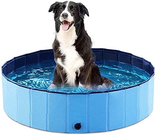 Paddling Pool for Pets & Kids Sturdy Foldable Dog Swimming Pool Bathtub Non-Slip Children Ball Pits Kids Paddling Bathing Pool For Garden Patio Bathroom-120*30cm_blue