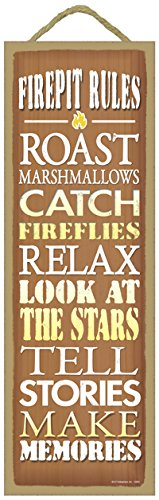 "SJT ENTERPRISES, INC. Firepit Rules - Roast Marshmallows, Catch Fireflies, Relax, Look at Stars, Tells Stories, Make Memories Primitive Wood Plaque - Measures 5"" x 15"" (SJT02641)"