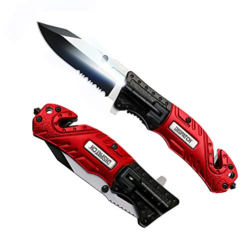 DISPATCH Folding Pocket Knife Spring Assisted Open, with Mini Flashlight, Serrated Clip Point Blade and Aluminum Handle for Outdoor, Tactical, Survival, and EDC, 4.75'' Closed, Red