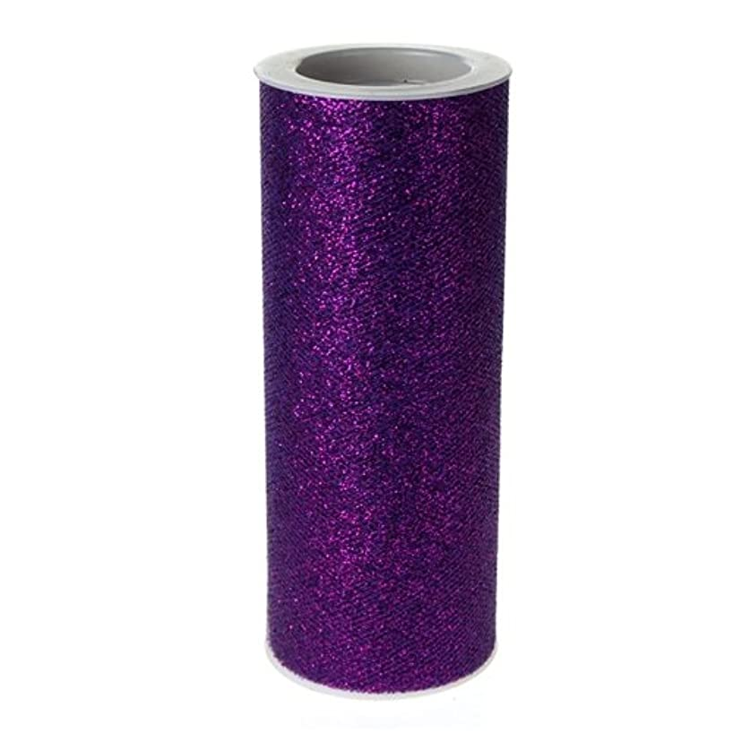 Homeford Firefly Imports Glitter Tulle Spool Roll, 6-Inch, 10 Yards, Purple,