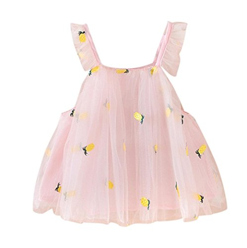 Coloré(TM Fille Robe Bébé Fille Ananas Broderie Princesse Casual Strap Robe Vêtements De Fête (Rose, 6M)