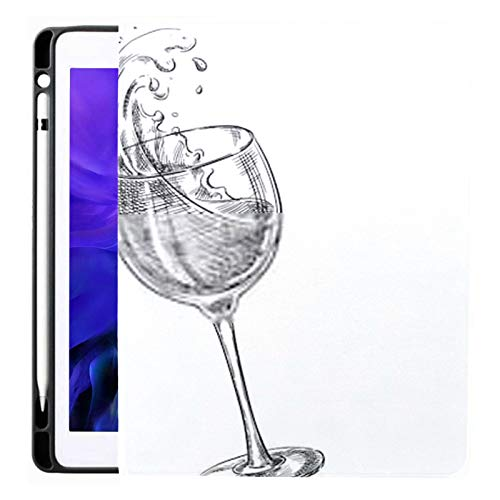 Ipad Pro 12.9 Case 2020 & 2018 with Pencil Holder Two Wine Glasses Splash Drinks Sketch Smart Cover Ipad Case, Supports 2nd Gen Pencil Charging,case for 2020 Ipad Pro 12.9 Cover with Auto Sleep/Wake