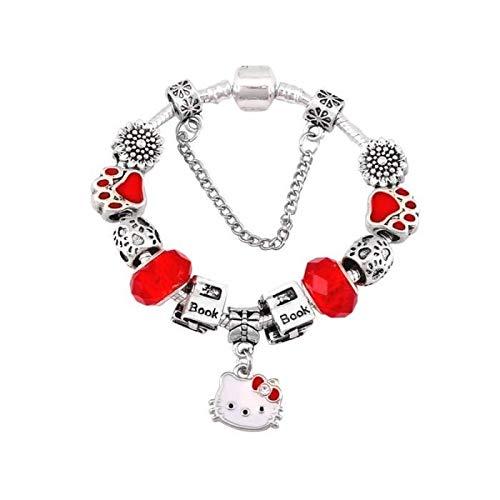 Pulsera Charm's gato Hello Kitty cristal rojo plata fina 925