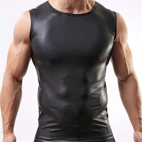 ZHER-LU - Chaleco de piel sexy para hombre, sin mangas/manga corta, camiseta de manga corta large