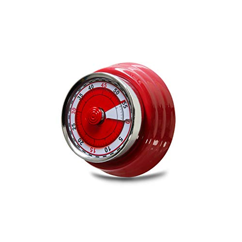 Red Retro Style Kitchen Timer,60-Minute Mechanical Stainless Steel With Magnet