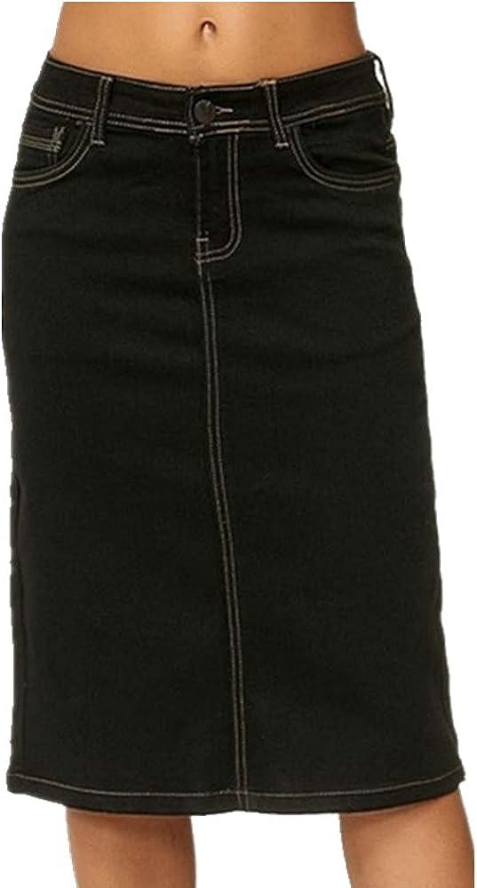 NP Denim Skirt Women Casual Stretch Knee Length Washed Denim Blue Skirts Color