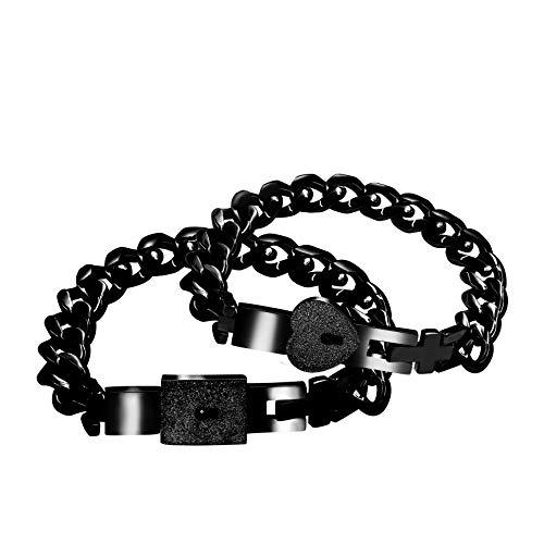 Pulseras de cadena cubana de acero de titanio para parejas, él y ella cuadrado corazón cerradura brazaletes juego de joyas Y853 M negro