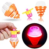 PROLOSO 15 Pcs Light Up Spinning Tops for Kids Flashing LED Gyro Peg-Top Spinner Toys Bulk Glow in The Dark Party Favors