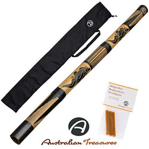 """DIDGERIDOO WOOD: bamboo didgeridoo 120cm - beeswax mouthpiece - didgeridoobag LENGTH: didgeridoo 47'' BEESWAX: 3 stripes of pure beeswax including manual for didgeridoomoutpiece. LEVEL: didgeridoo for beginner NYLON BAG: 49"""" didgeridoobag"""
