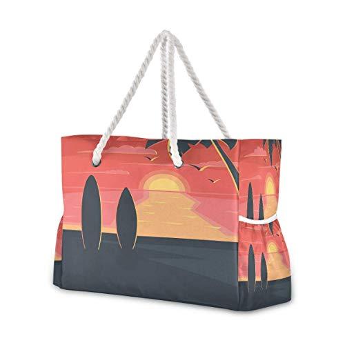 Bolsas de playa grandes Totes de lona Bolsa de hombro Sunset en la playa con surf resistente al agua bolsas para gimnasio viajes diario