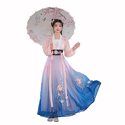 Hanfu Vestido Chino Hanfu Para Mujeres Traje De Bordado Tradicional Falda De Hada De Pndulo Grande De Color Degradado Para El Espectculo De Escenario Cosplay Halloween ( Color : Pink , Tamao : XL )