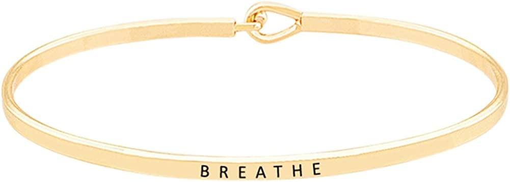 Breathe'' Inspirational Quote Mantra Phrase Engraved Thin Bangle Hook Bracelet - Positive Message Jewelry Gifts for Women & Teen Girls
