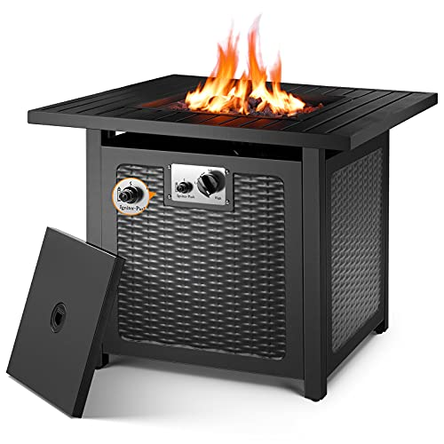 OKVAC 28' Propane Gas Fire Pit Table, 50,000 BTU Square Fire Bowl, Outdoor CSA Certification Fireplace with Auto Electric Ignition, 600D Waterproof Cover, Lava Rock, for Balcony/Garden/Patio/Courtyard