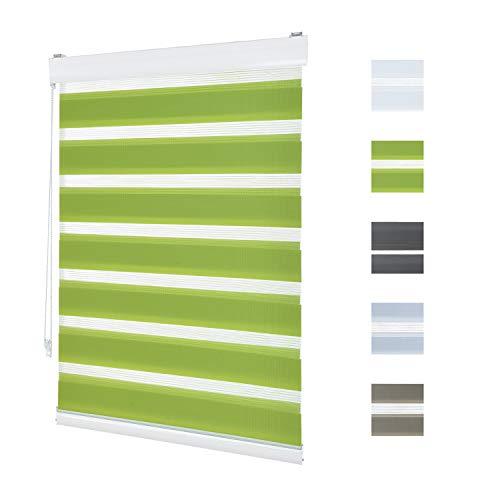 Doppelrollo Klemmfix Ohne Bohren,90cm x 210cm Aluminium Doppelrollo Duo Rollo Klemmrollo Sonnenschutzrollo mit Klemmträgern für Fenster und Türen - Grün