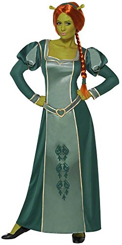 Smiffys Women's Princes Fiona Shrek Fancy Dres Costume Plu Wig and Ogre Ears Women: 12-14 Green