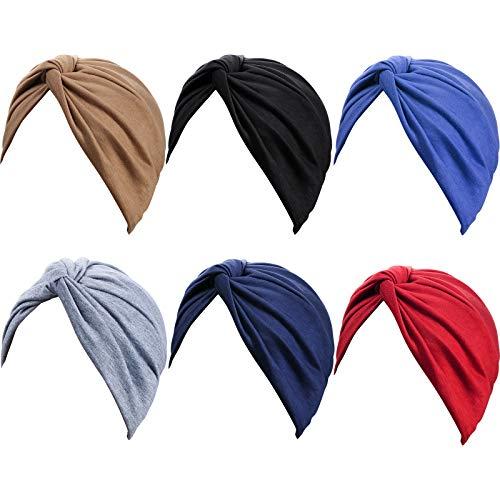 6 Piezas Turbantes para Mujeres Gorro Turbante Plisado de Moda con Nudo Pre-atado Suave Pañuelo de Cabeza, 6 Colores