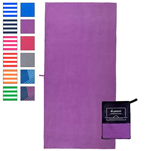 Lytepark Microfiber Travel Towel - Quick Dry Sport Backpacking Towel - Extra Large XL70x35 Small43x20 - Lightweight Absorbent Perfect at Gym Beach Camping Yoga Swim Fitness (Purple Parakeet, X-Large)