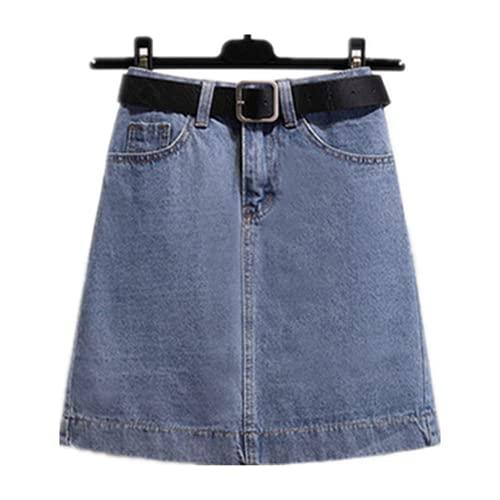 N\P Tamaño Azul Clásico con Cinturón Cintura Alta Jeans Faldas Mujeres Más Tamaño