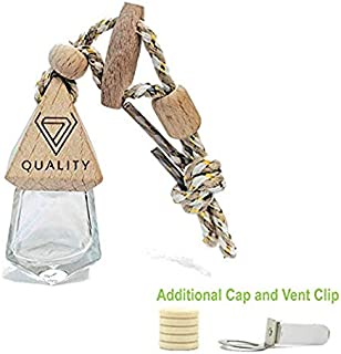 V-Quality 7ml Refillable Car Aromatherapy Essential Oil Diffuser Car Air Freshener - Clear Glass Bottle With Wooden Caps - Vent Clip - And Hanging String (Smart 2-In-1 Design)