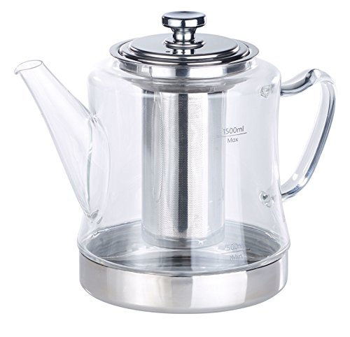 Rosenstein & Söhne Teekocher: 2in1-Glas-Teebereiter & Teekanne für alle Herde, auch Induktion, 1,5 l (Teekanne für Induktionsherd)
