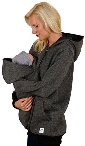 Evagreen Umstandsjacke Tragejacke 3 in 1 für Mama, Papa und Baby | Sportliche Freizeitjacke mit Babyeinsatz | Schwarz-Grau