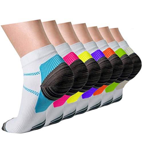 Compression Socks Plantar Fasciitis Women Men 7 Pairs, 8-15 mmhg A1-Mix 7 Pairs, S/M