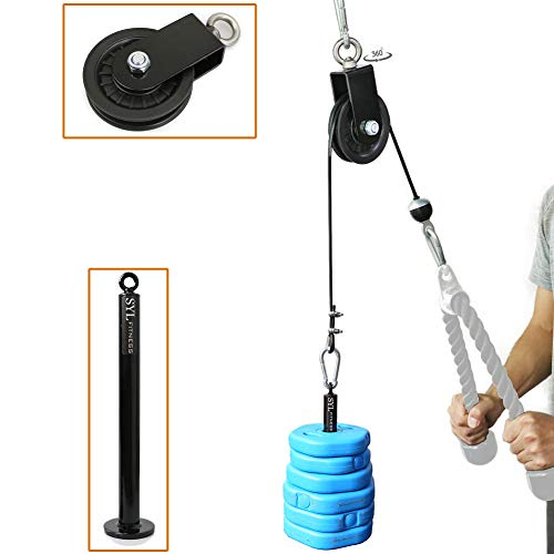 SYL Fitness LAT Cable Pulley System with Loading Pin DIY Home Garage Gym Cable Crossover Tricep Pulldown Attachment(Pulley System for Standard Weight Plates)