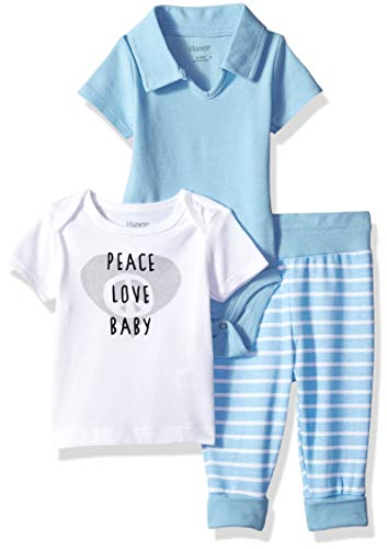 Hanes Ultimate Baby Flexy Knit Jogger with Polo Bodysuit and Short Sleeve Crew