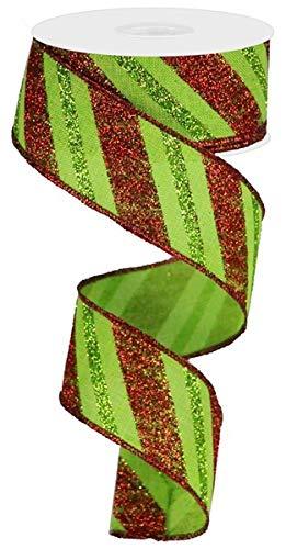 Christmas Diagonal Glitter Stripe on Royal Canvas Wired Edge Ribbon - 50 Yards (1.5')