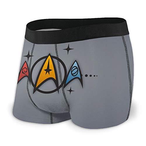 Star Trek Herren Boxershorts Unterhose Bedruckte Baumwolle Unterhose Elastisch Atmungsaktiv Und Bequem Viele Größen Gr. L, Schwarz