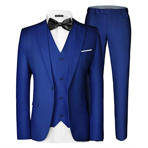MAGE MALE Men's 3 Pieces Suit Elegant Solid One Button Slim Fit Single Breasted Party Blazer Vest Pants Set. Royal Blue