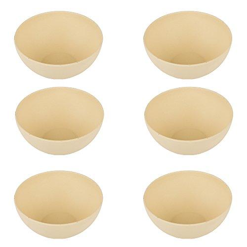 pandoo Set di 6 ciotole in bambù, senza BPA e per alimenti, per picnic e campeggio, per uso quotidiano, lavabili in lavastoviglie e impilabili, bianco, S