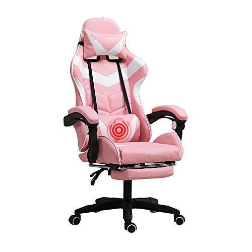 Bseack Silla giratoria Silla para Videojuegos, sillón reclinable con Estilo de Carreras, Respaldo Alto con reposapiés ergonómica Silla para computadora con reposacabezas y Soporte Lumbar