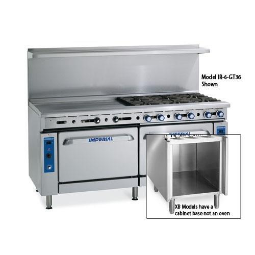 "Imperial Commercial Restaurant Range 60"" W/ 4 Burners 36"" Griddle Oven/Cabinet Nat Gas Ir-4-G36-Xb"