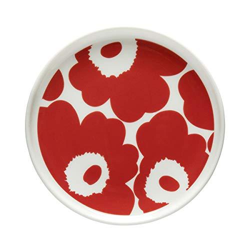 Marimekko - Teller, Brotteller, Kuchenteller - Oiva-Unikko - Keramik - Weiß-Rot - XS - Ø 13,5 cm