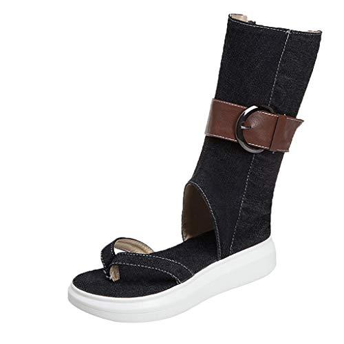 Oksea Damen Römisch Sandalen Knie Stiefel Damen Flip Flops Gladiator Cowboy Römisch Sandalen Knie Stiefel Flache Cowboy Sommer Strand Schuhe