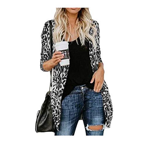 iHENGH Damen Herbst Winter Bequem Lässig Mode Frauen Langarm Leopard Print Mode Mantel Blusen T Shirt Tank Tops(XL,Grau)