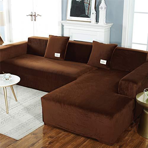 Cubierta de sofá súper estiramiento, sofá universal de 1 pieza cubiertas de salón muebles protector perros amigable para mascotas sofá instalado para mascotas,Café,4seater